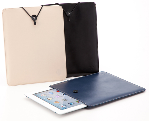Leather Sleeve Case for iPad Beige White