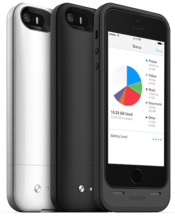 mophie space pack ストレージ内蔵バッテリーケース for iPhone 5s/5