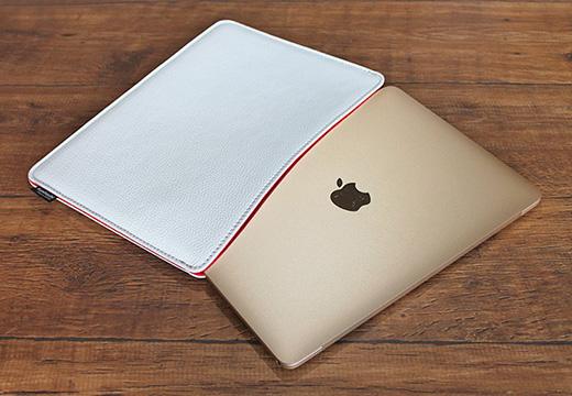 職人が作るシュリンクレザースリーブ for MacBook ホワイト(12インチRetina)