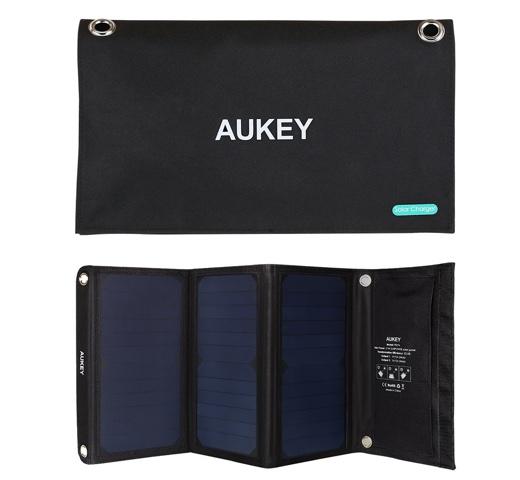 Aukey ソーラーチャージャー ソーラーパネル デュアル 21W