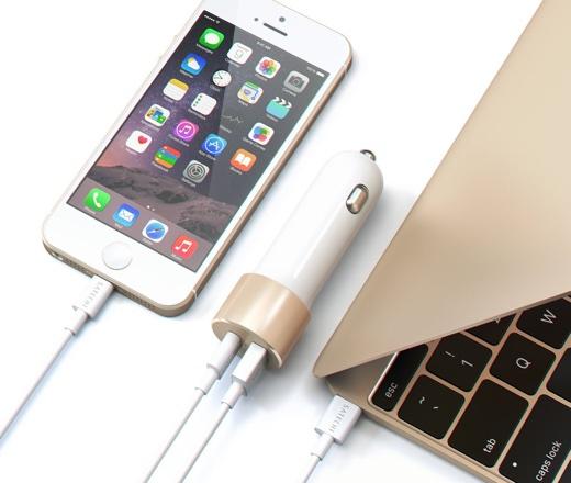 Satechi 48W Type Cと標準USB Aポート付 車載アダプター