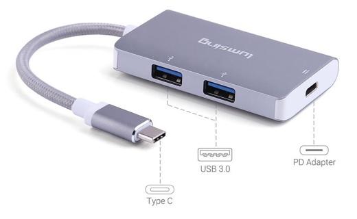変換アダプタ Type-C to USB3.0 2ポート / PDアダプタ 20cm