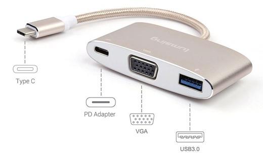 変換アダプタ Type-C to VGA / PDアダプタ /USB 3.1 USBハブ 20cm