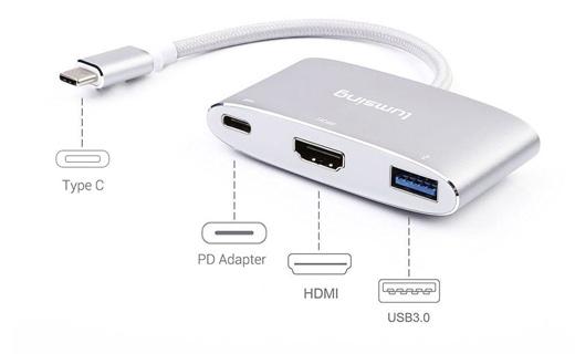 変換アダプタ Type-C to HDMI / PDアダプタ / USB 3.1 USBハブ 20cm