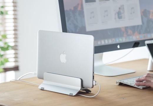 サンワダイレクト、MacBookファミリーをクラムシェルモードで使うためのアルミスタンドをWeb限定発売