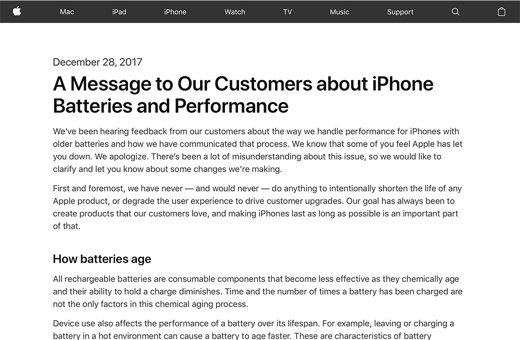 A Message to Our Customers about iPhone Batteries and Performance
